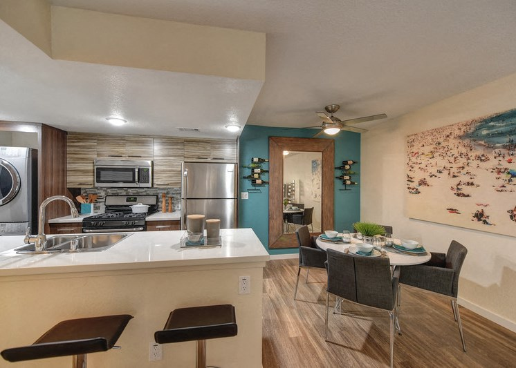 Luxury Apartment Community Dining Area with View of Kitchen