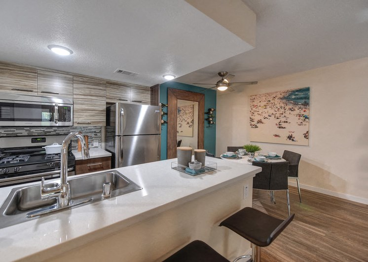 Luxury Apartment Community Kitchen with Bar Seating and Stainless Steel Appliances