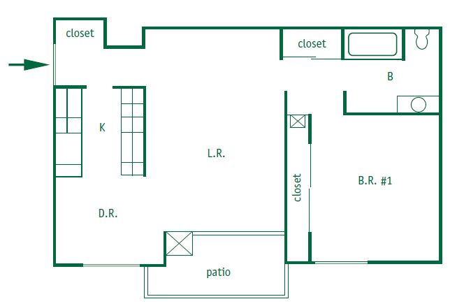 One bedroom, one bathroom upstairs and downstairs apartments are 771 square feet. They have a patio or a balcony with a galley style kitchen. The upstairs apartment has vaulted ceilings.