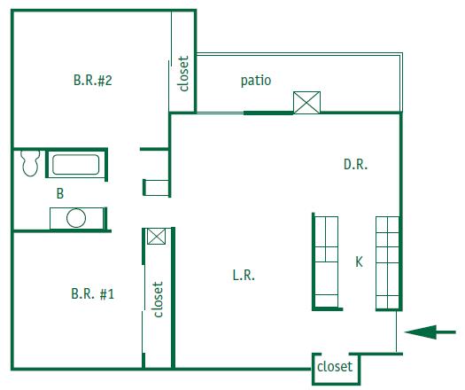 2 Bed 1 Bath Floor Plan 2