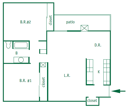 Two bedroom 1 bathroom downstairs apartment is 1,017 square feet. Both bedroom each of a closet. Galley style kitchen with a patio door leading out to a patio.