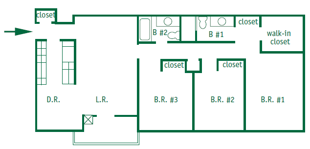 Three bedroom, two bathroom apartment is 1,308 square feet. The master bedroom has a walk in closet. They have a galley style kitchen with either a patio or a balcony.