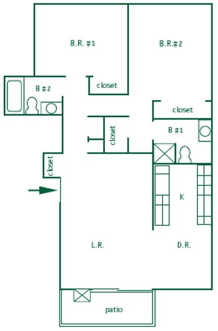 2 Bed 2 Bath Upstairs Floor Plan 4