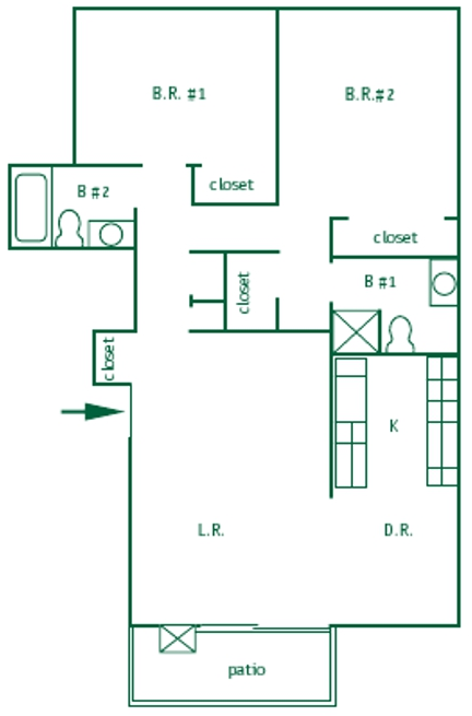Two bedroom, one bathroom upstairs unit  is 940 square feet with vaulted ceilings. This apartment has a galley style kitchen, pendant light in the kitchen. A patio sliding door leading to a balcony.