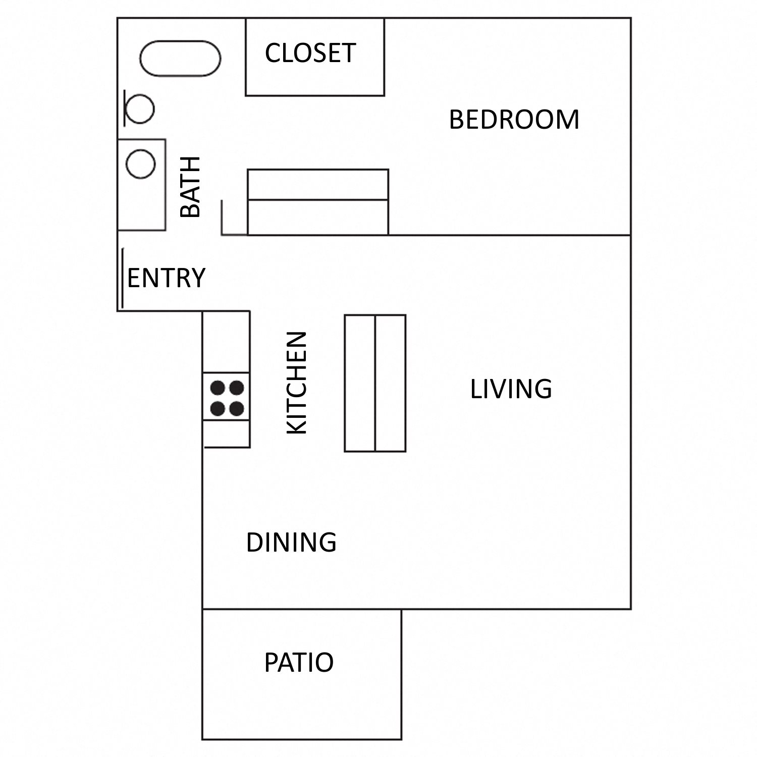 1 Bedroom 1 Bath Flat Floor Plan 2