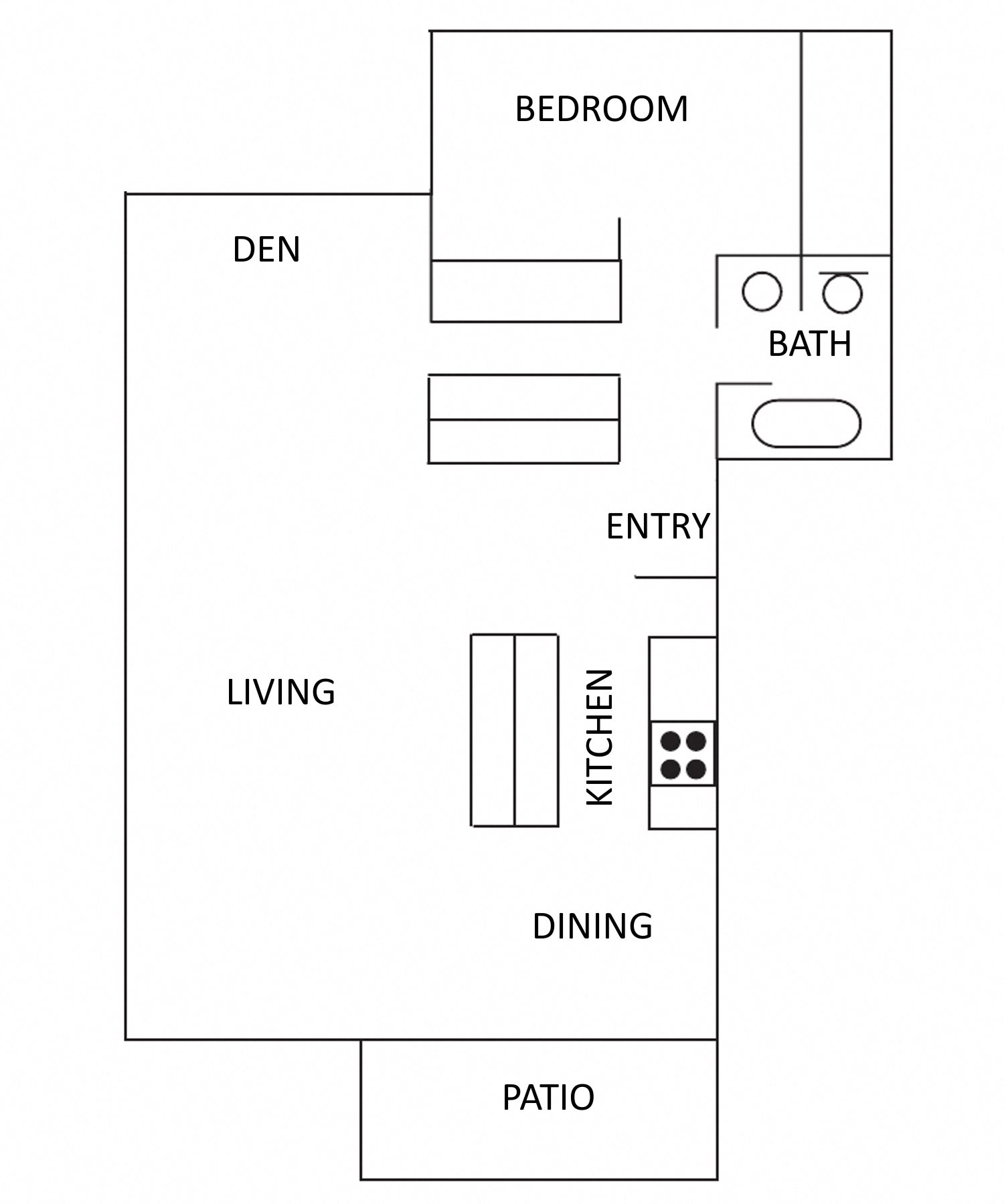1 Bedroom 1 Bath Flat w/Den Floor Plan 3