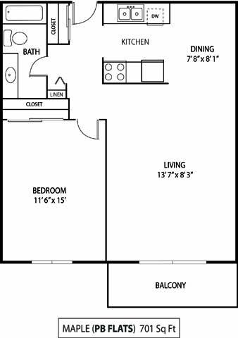 Pebblebrook Flats and Court Bloomington, MN 1 Bedroom 1 Bathroom Apartment