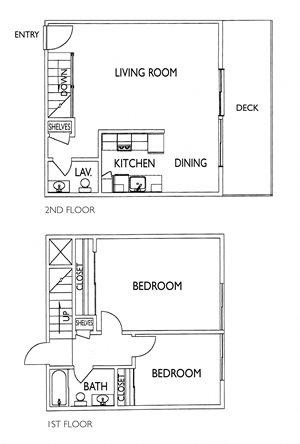 2 Bedroom / 1.5 Bath Townhome