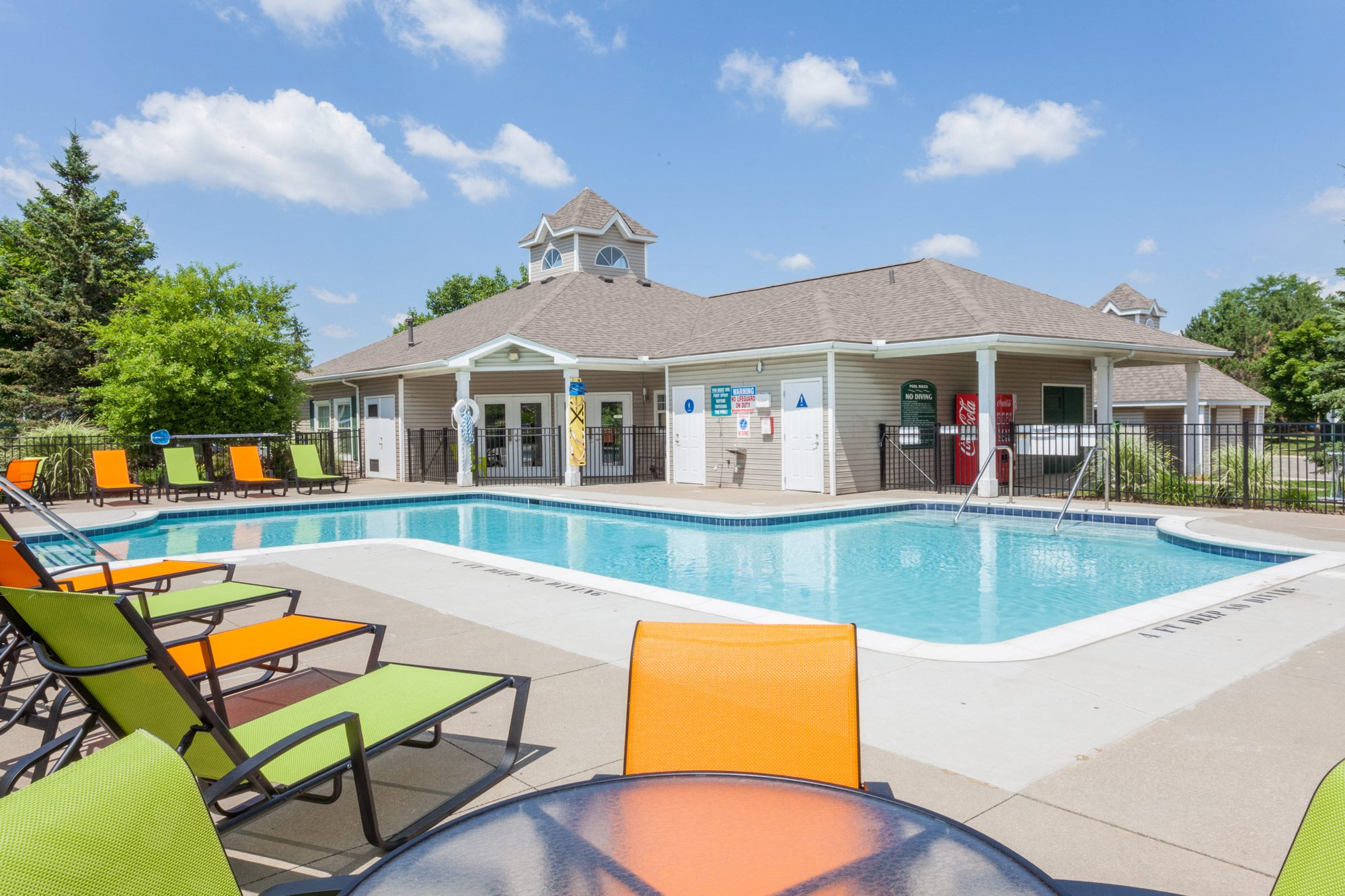 Swimming Pool with Lounge Chairs at The Orion - Orion, MI, Orion, 48359