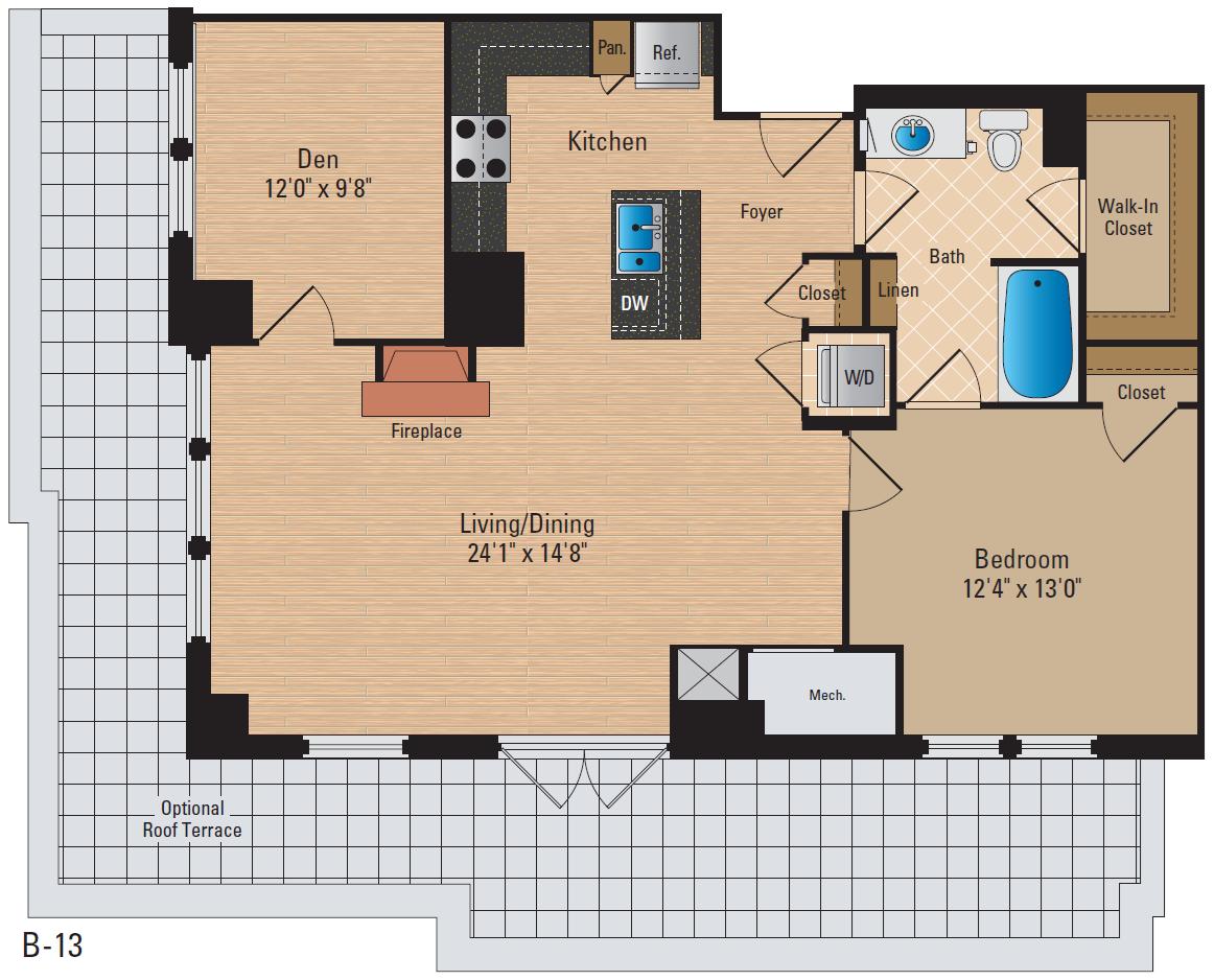 1 Bedroom Den 1 Bath Floor Plan 3