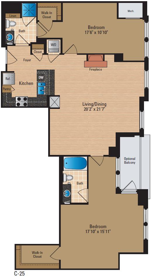 2 Bedroom Den 2 Bath Floor Plan 6