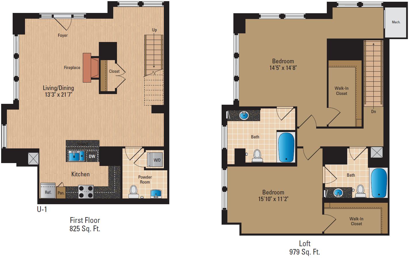 2 Bedroom Loft 2 Bath Floor Plan 6