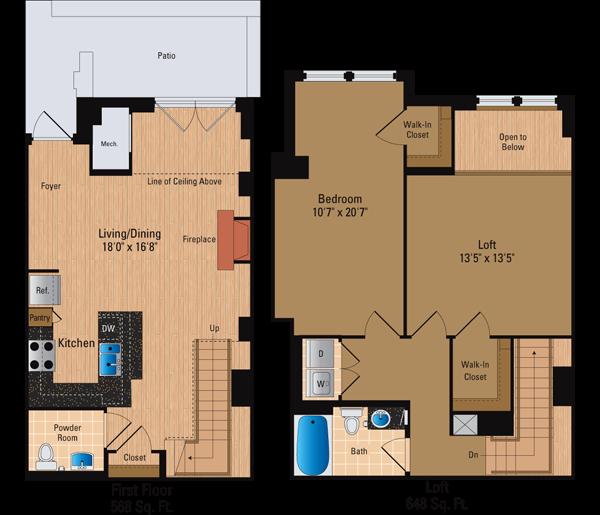 1 Bedroom, 1.5 Bath Loft Floor Plan 4