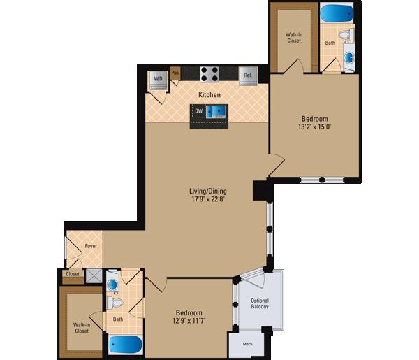 2 Bedroom 2 Bath Floor Plan 5