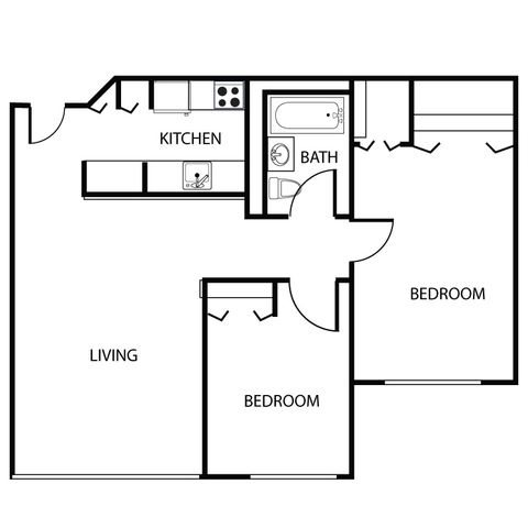 2 bed 1 bath Floor Plan 2