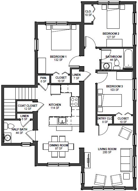 3 Bed 1.5 Bath Floor Plan 3
