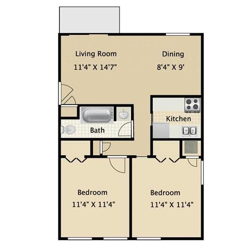 Two Bedroom One Bath Floor Plan 2