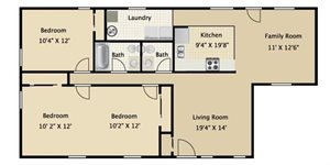 Three Bedroom One and a half Bath