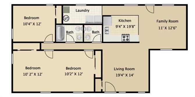 Three Bedroom One and a half Bath Floor Plan 3