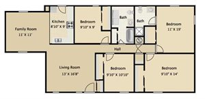 Four Bedroom Two Bath