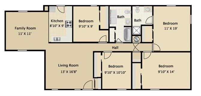 Four Bedroom Two Bath Floor Plan 4