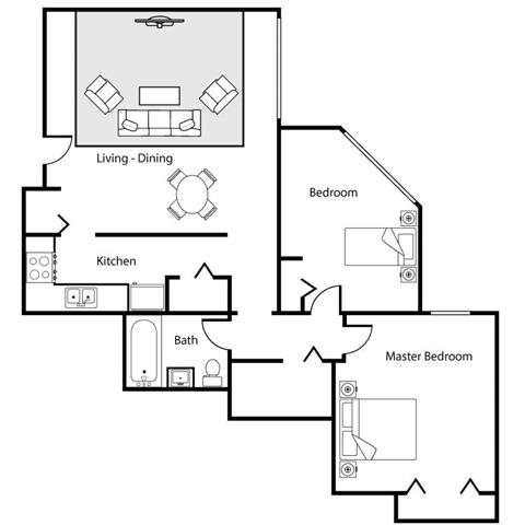 1 Bed with Den High Rise Floor Plan 2