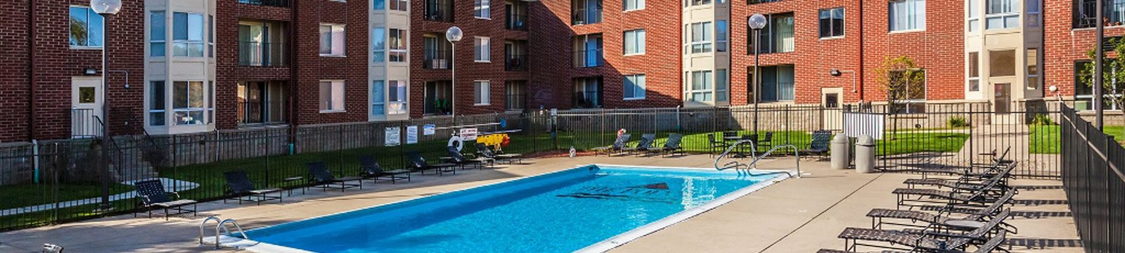 Refreshing Pool and Sundeck  at The Pointe at St. Joseph Apartments, South Bend, IN, 46617