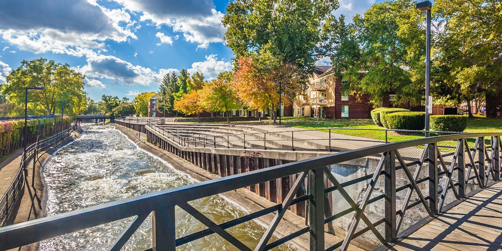 Beautiful Views of the East Race & St. Joseph River at The Pointe at St. Joseph Apartments, South Bend, IN, 46617