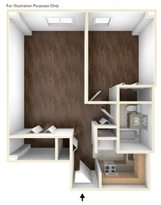 One Bedroom Floor Plan Laurelwood Place Apartments