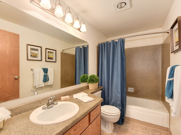 Bathroom with Vanity,Toilet, Bathtub and Blue Curtains