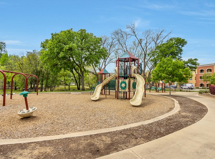 Playground with slides and swings.