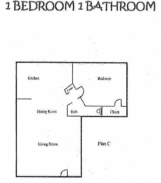 1 Bedroom/1Bath Floor Plan 1