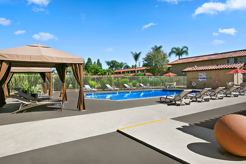 Pool View with Cabana's and pool furniture