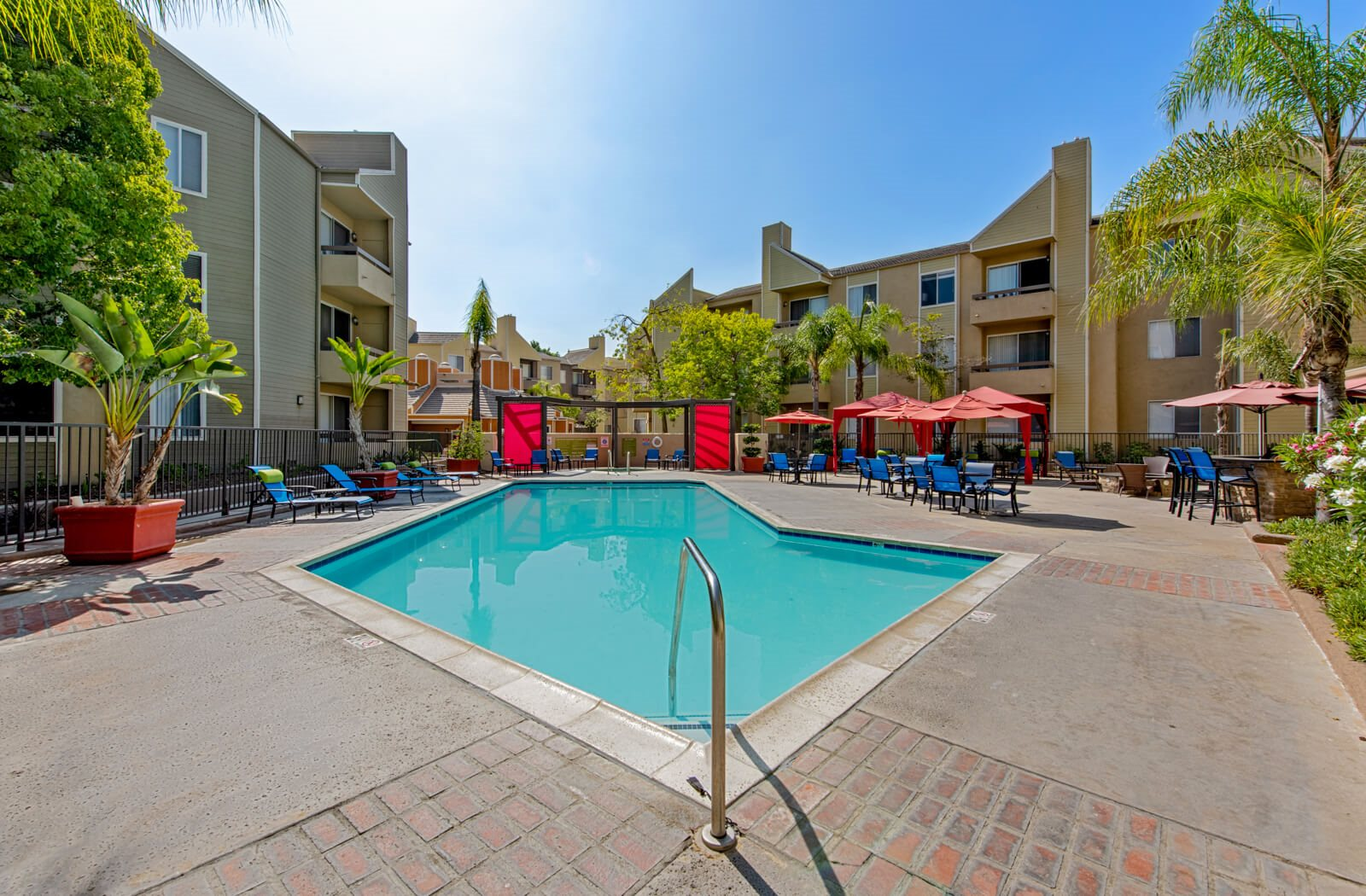 Resort style swimming pool at beautiful Enclave apartments courtyard