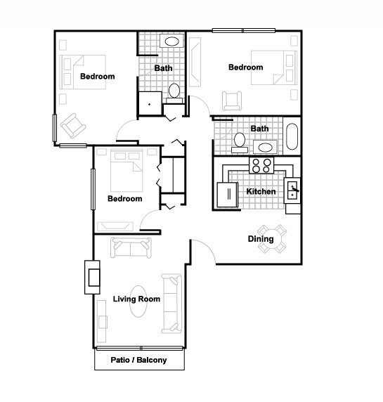 Three Bedroom Floor Plan 3