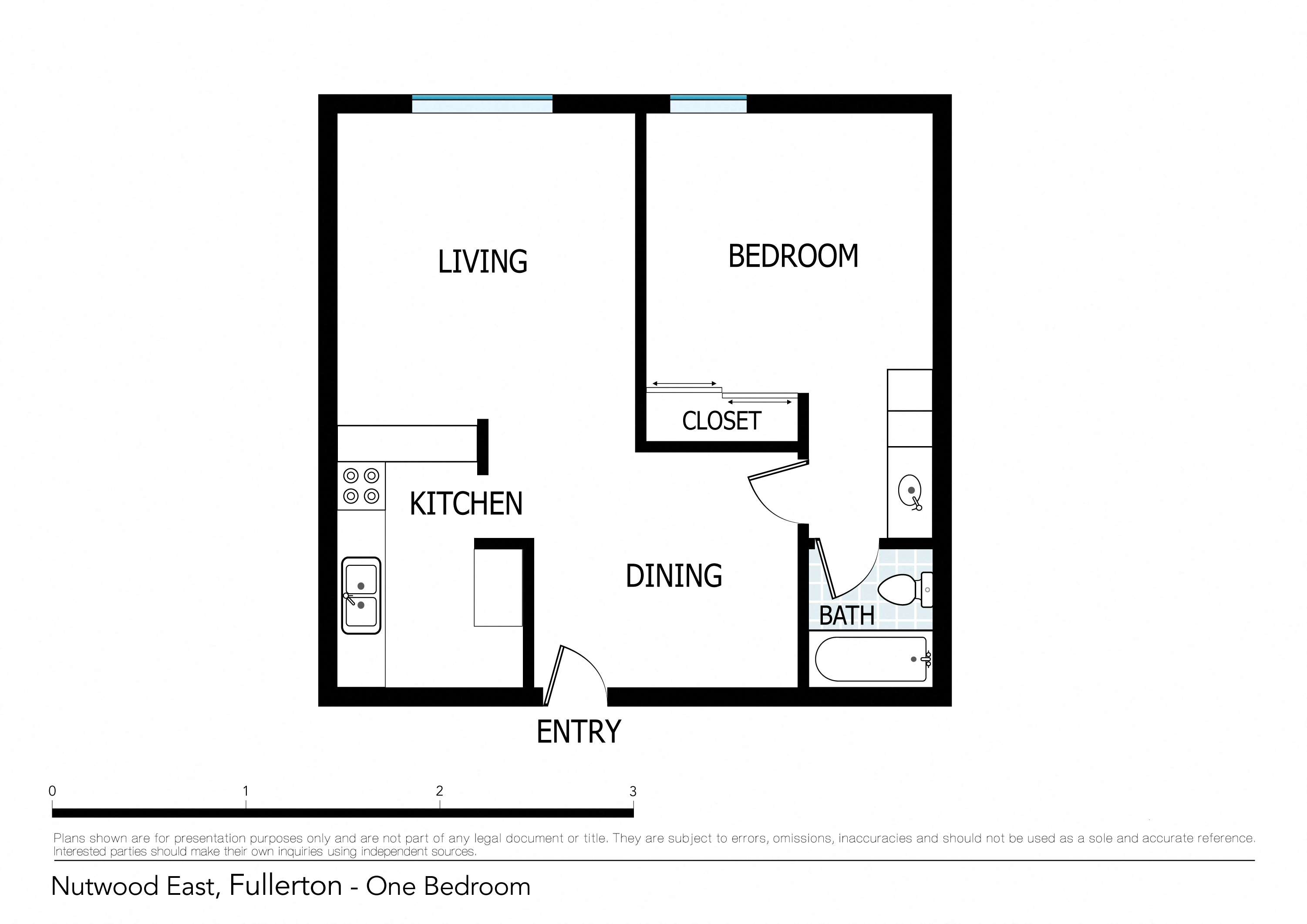Nice 1 Bedroom Apartment Floor Plan 1
