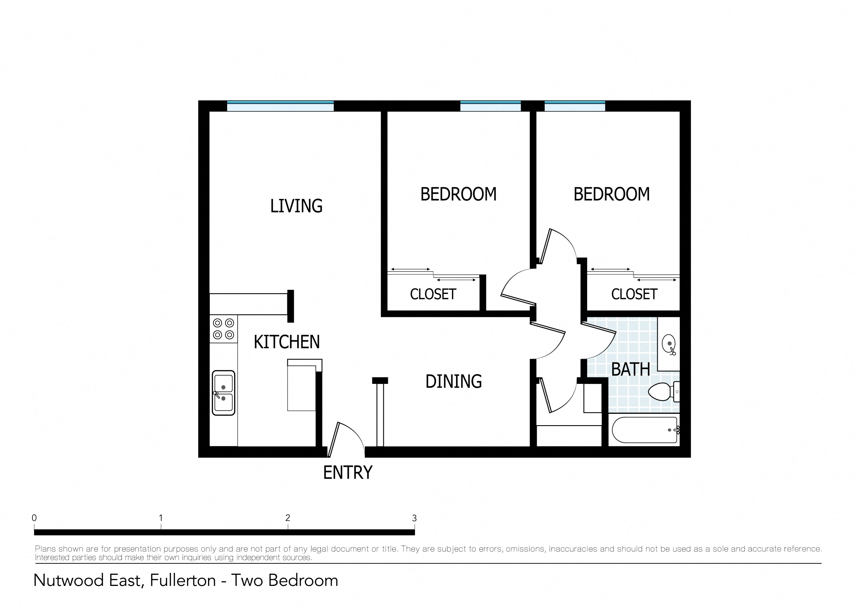 Floor plans of nutwood apartments in fullerton ca for Floor plan for two bedroom apartment