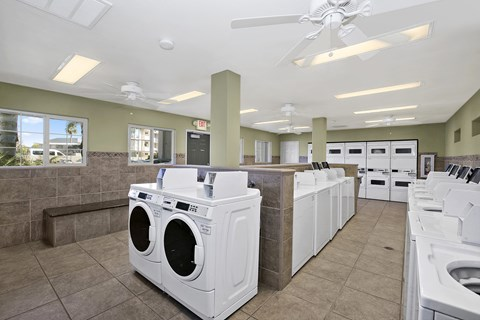 Laundry Facility with washers and dryers and ceiling fans