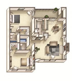 The Somerville Floor Plan at Woodcreek Apartments, Cary, NC