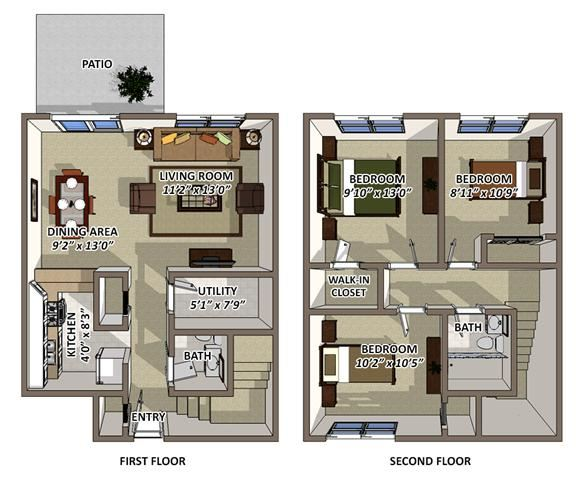 The Churchill Floor Plan at South Square Townhomes, North Carolina