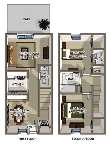 The Windsor 2 Floor Plan at South Square Townhomes, North Carolina, 27707