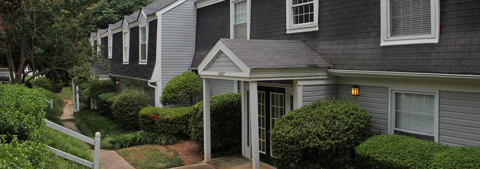 Exterior of Lake Johnson Mews Apartments in Raleigh NC