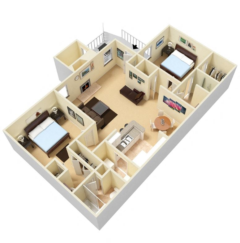 The Charleston Floor Plan at Palmetto Place Apartments in Taylors SC