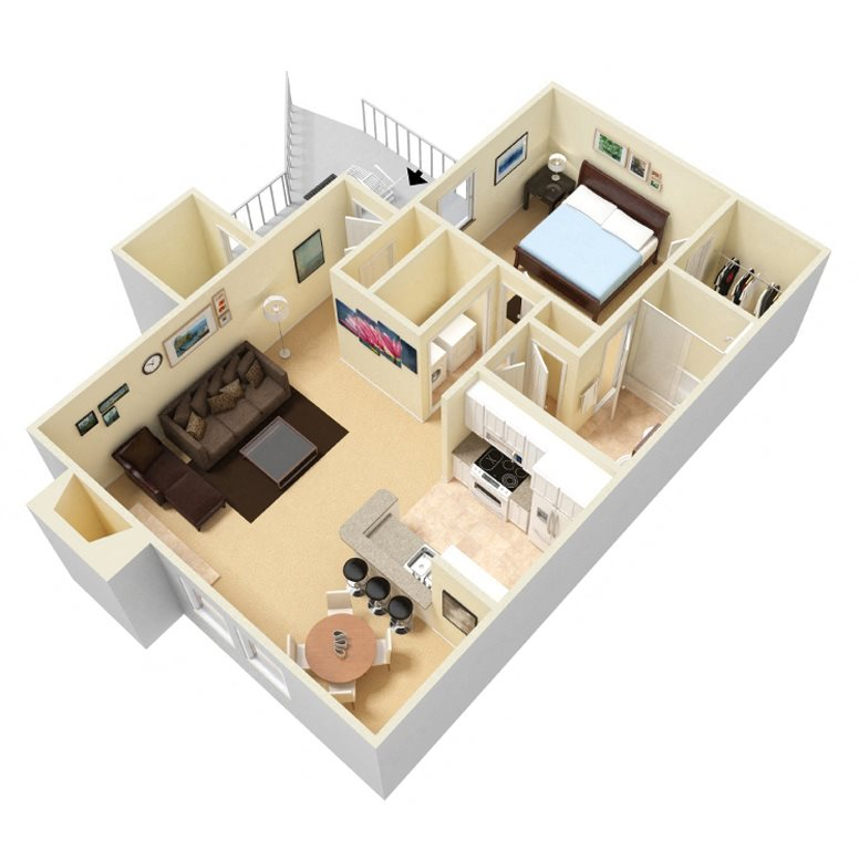 The Litchfield Floor Plan at Palmetto Place Apartments in Taylors SC