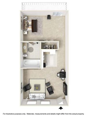 Studio Floor Plan at Tates Creek Village Apartments in Lexington KY