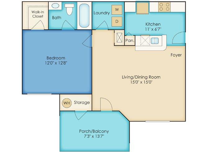 One Bedroom/One Bath Floor Plan 1