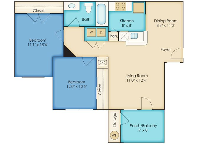 Two Bedroom/One Bathroom Floor Plan 2