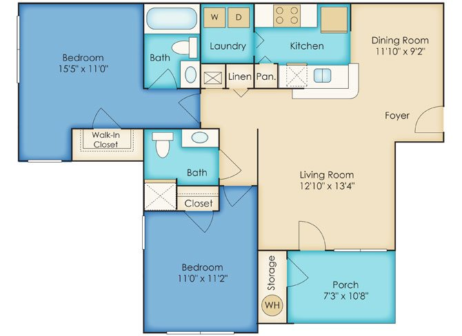 Two Bedroom/Two Bathroom Floor Plan 3