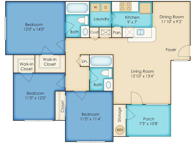 Three Bedroom/2 Bathroom Floor Plan 4