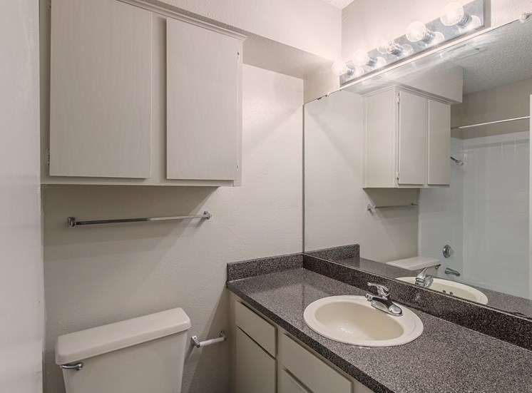 Bathroom at Parkwood Plaza Apartments in Duncanville, Texas, TX